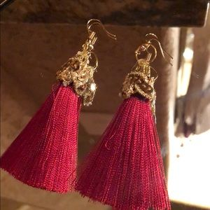 Red And Gold Christmas Tassel Earrings